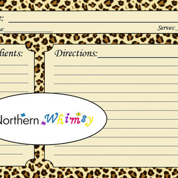 Cheetah Print 4x6 Recipe Card Set – printable jungle animal background pattern recipe cards – Leopard Print – INSTANT DOWNLOAD