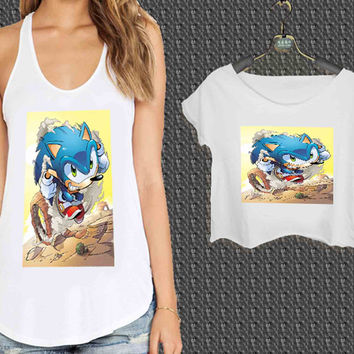 Sonic The Hedgehog For Woman Tank Top , Man Tank Top / Crop Shirt, Sexy Shirt,Cropped Shirt,Crop Tshirt Women,Crop Shirt Women S, M, L, XL, 2XL**