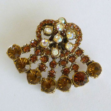 SALE Amber Rhinestone Pin Brooch , Amber Lapel Brooch