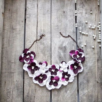 Violets Bib Necklace, Pearl Embroidered Necklace, Maroon Purple Ivory Flowers, Black Chain, Beadwork, ReddApple, Gift Ideas for Her