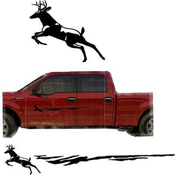 Hunting Deer Trailer Decals Truck Decal Side Set Vinyl Sticker Auto Decor Graphic Kit TT05