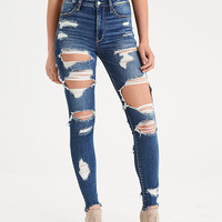 AEO Denim X Super Hi-Rise Jegging, Shredder Indigo