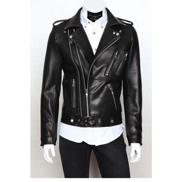 Men's Leather Jackets Male PU Zipper
