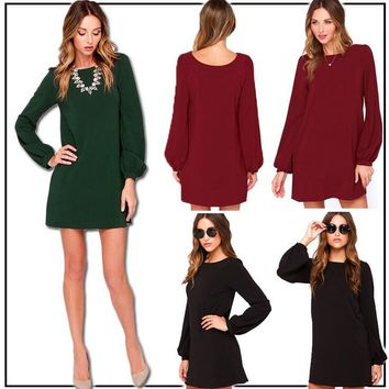 Retro Long Sleeve Chiffon Casual Dress For Womens+Gift Necklace