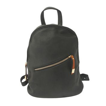 Black Leather Angled Zipper Backpack