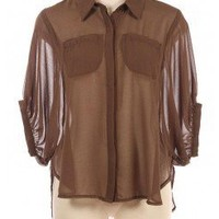 BROWN DOORMAN SLEEVES CHIC CHIFFON SHIRT @ KiwiLook fashion