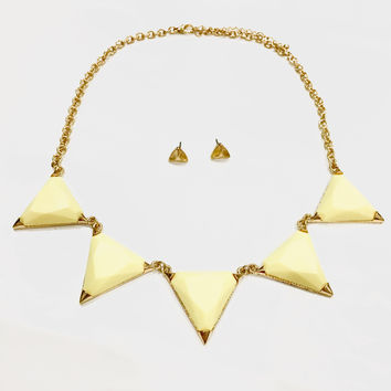 Hailee Triangle Necklace - Yellow