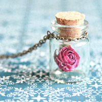 Rose in the bottle necklace - Natural history jewelry - Free Worldwide Shipping - Gift for her under 20 USD
