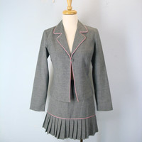 Vintage 80s Jacket Skirt Combo, Flirty Suit, Mini Skirt, Pleated Skirt, Two Piece Outfit, 1980s Jacket Skirt, 80s Dress