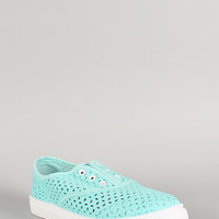 Qupid Canvas Perforated Laceless Sneaker
