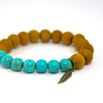 Mala Bead Bracelet, Howlite Turquoise & Peach Wood, Stackable, Beaded Bracelet, Yoga Inspired Bracelet Stack w. Antique Brass Feather Charm