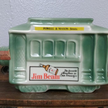 JIM BEAM DECANTER BOTTLE 1968 SAN FRANCISCO TROLLEY STREET CAR BOURBON WHISKEY