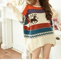 Sweater Cute Deer Patterns Color Block Stripes-White