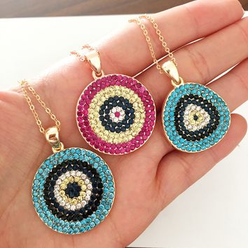 Evil eye necklace, nazar boncuk necklace, cubic zirconia gold necklace