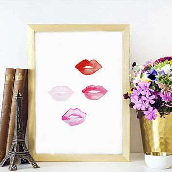 Wake up and MAKEUP Rose Lips,Xoxo,Gossip Girl,Makeup Poster,Bathroom Wall Art,Gift Idea,Gift For Her,Digital Print,Fashionista,Fashion Print
