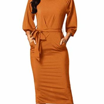 Dearlovers Women Long Sleeve Wear to Work Pencil Dress with Belt