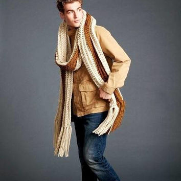 Mens scarf Oversized scarf Extra wide long scarf Chunky scarf Fringe scarf Beige scarf Knit scarf Crochet scarf  Winter scarf Gift  for him