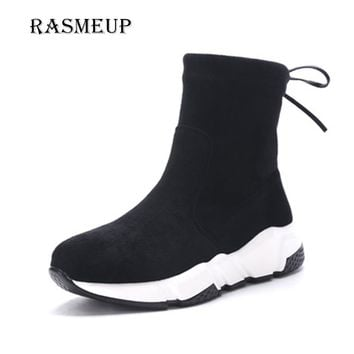 RASMEUP Women Elastic Suede Ankle Boots New Autumn Winter Back Lace Up Stretch Woman's Platform Boots Woman Casual Footwear Shoe
