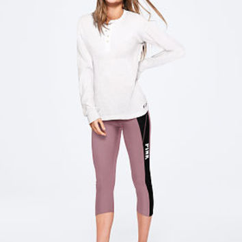 Long Sleeve Waffle Henley - PINK - Victoria's Secret