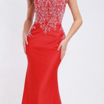 Elegant Red Evening Dresses Scoop Neck Crystal Beading Illusion Sleeveless Mermaid Floor-Length Prom Party Gowns