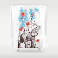 A Happy Place Shower Curtain by Norman Duenas