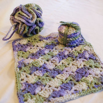 Crocheted Spa Bath Set: Shower Puff, Washcloth,  Facial Rounds Purple Green Lavender