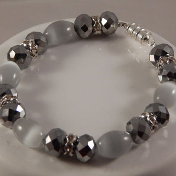 Bridal Bracelet, crystal and opalascent glass beads, magnetic grey catseye, prom jewelry, black tie affair, new years eve accessory handmade