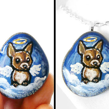 Chihuahua Art, Dog Necklace, Rock Art, Hand Painted Stone, Pet Memorial Jewelry, Guardian Angel, Pet Loss, Angel Pendant
