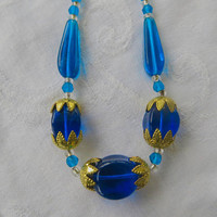 Art Deco Glass Necklace, Cobalt Blue Czech Beads, Filigree Caps,  Vintage Art Deco Jewelry