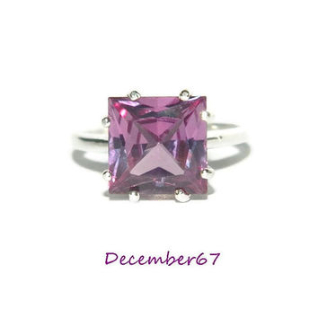 Alexandrite Ring, Princess Cut Stone, Lab Created Alexandrite