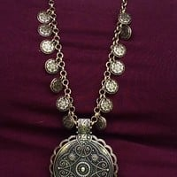 Etched Medallion Boho Coin Bronze Necklace