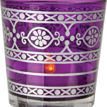 Glass Candle Holder (mehndi silver accents)