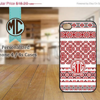 ON SALE iPhone 4 Case - iPhone case - Monogram iPhone case - iPhone 4s case - Christmas iPhone cover - MC071