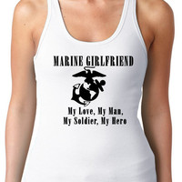 Marine Girlfriend Exercise Tank Regular Back Multi Colors Available   Womens T-Shirt