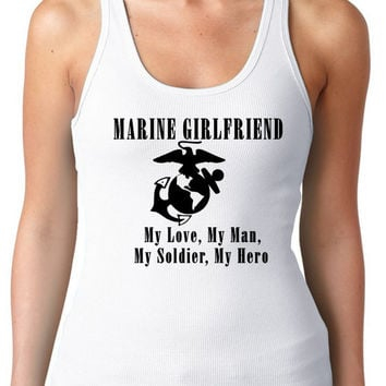 Marine Girlfriend // Women Woman Racer Back Racerback // Multi Colors and Sizes Available   Womens T-Shirt