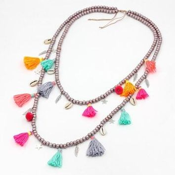 Jewelry Woman's New Fashion Statement Necklace Bohemian Female Handmade Wood Beads Strand Colorful Tassel Long Necklaces