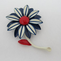 1960s Red White and Blue Enameled 3D Floral Pin