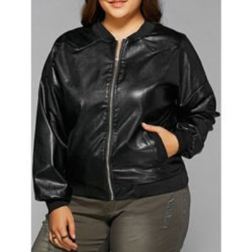 Plus Size Zipped Leather Jacket