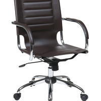 Office Star Trinidad Office Chair With Fixed Padded Arms and Chrome Finish in Espresso [TND941A-ES]