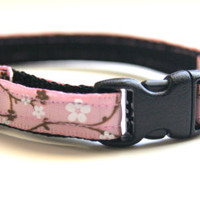 Pink Cherry Blossom Cat Collar