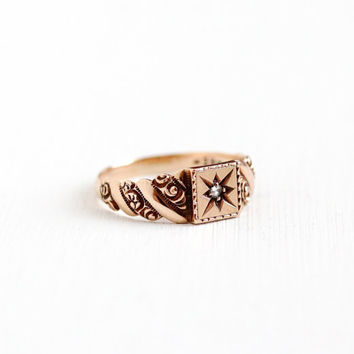Antique Victorian 10k Rose Gold Diamond Ring - Size 8 Vintage Early 1900s Victorian Edwardian Incised Star Engagement Fine Jewelry