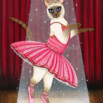 Siamese Cat Art Ballerina Cat Painting Ballet Dancer Cat Princess Chocolate Point Siamese Whimsical Cat Art Print 8x10 Cat Lovers