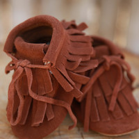 Camel Rubber Sole Fringe Booties