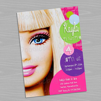 Barbie Custom Birthday Party Invitations --- Personalized with 24hr turn-around. Printable 4x6 or 5x7 Image! Spa, Makeup, Dress Up
