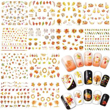 Whaline 12 Sheets Thanksgiving Day Autumn Fall Maple Leaves Nail Art  Stickers