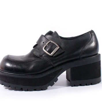 90s Vintage Platform Shoes Black Leather Chunky Oxfords Hipster Retro Goth Womens Size US 7.5 UK 5.5 EUR 38