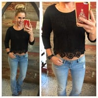 Crochet Overlay Top: Black