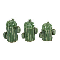 Benzara Unique Cactus Designed Ceramic Jar, Set Of 3