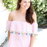 Not A Shore Thing Tassel Top - Pink
