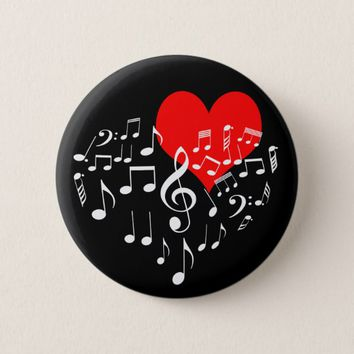 Singing Heart one-of-a-kind romantic black Button
